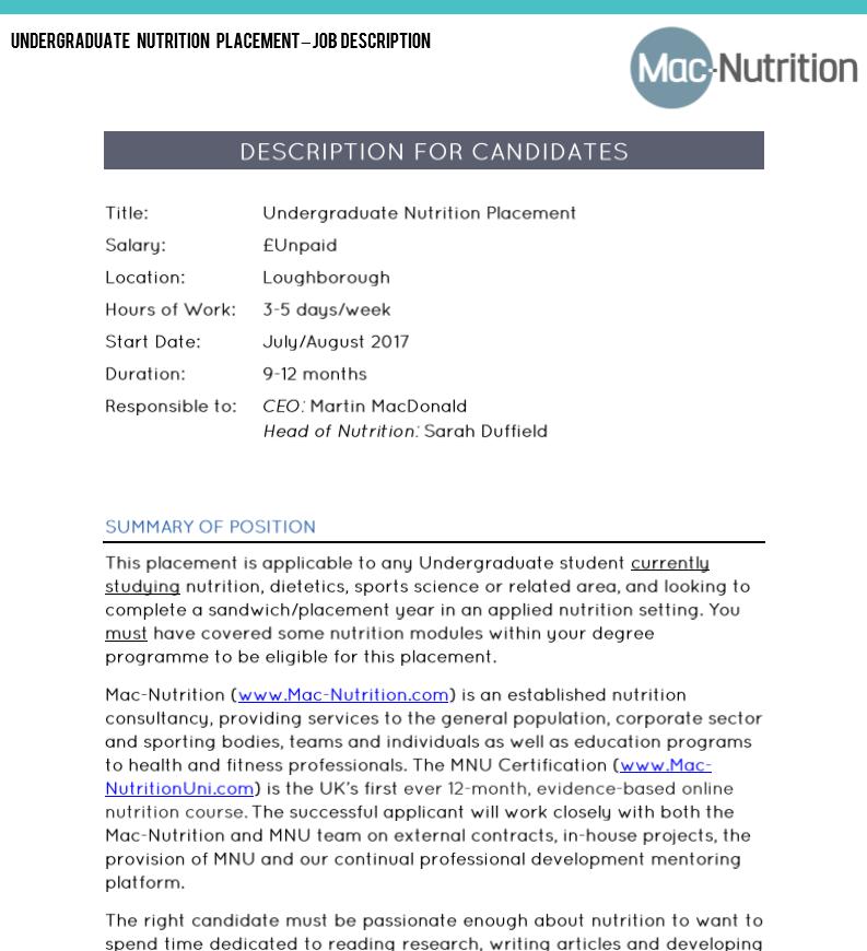 MSc Nutrition Student Internship – Nutritionist Job Description