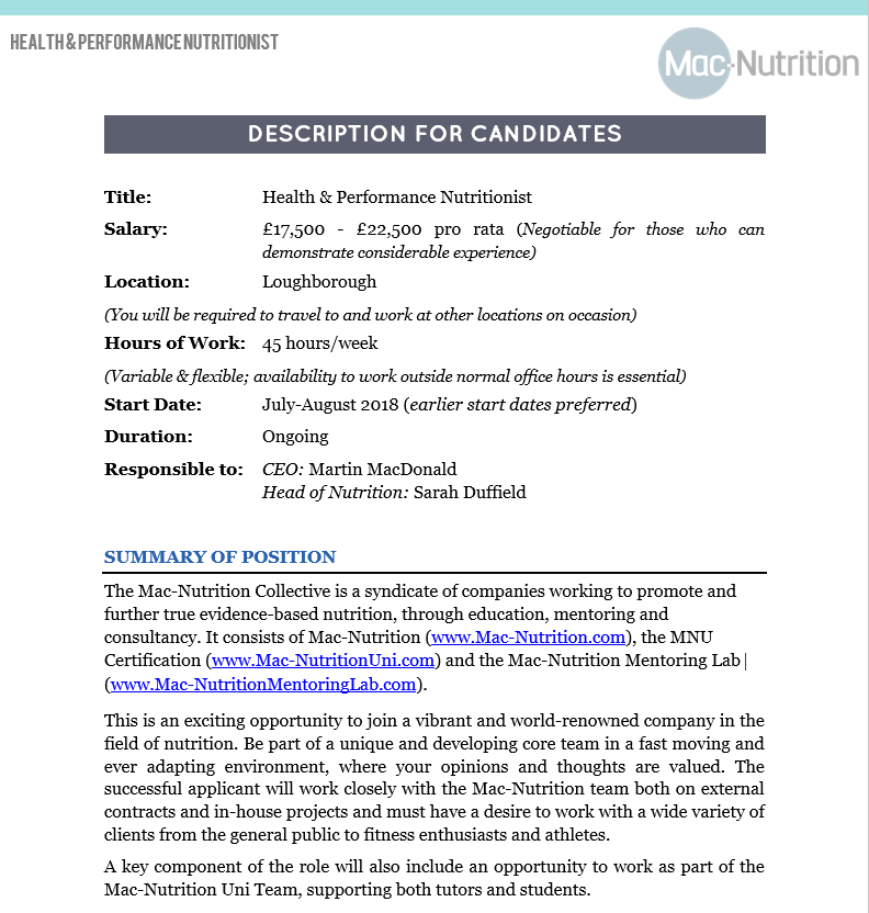 Health and Performance Nutritionist